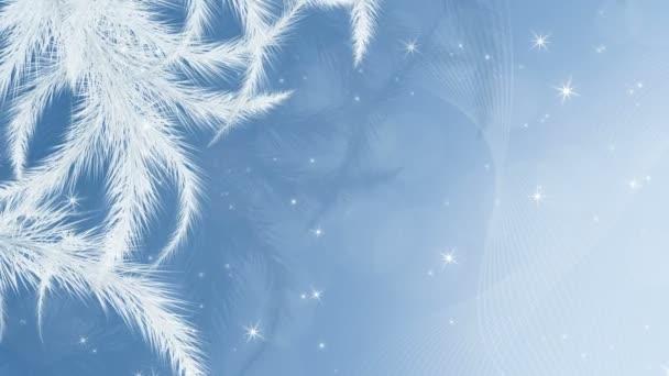 Vánoční pozadí. Zimní animace 4K s mrazovými vzory a sněhem, pohybová grafika