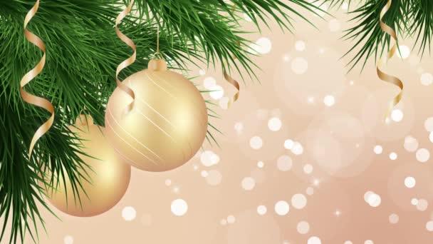 Vánoce a Nový rok pozadí smyčka se zlatými svátky ozdoby, stuhy a vánoční stromeček, pohybová grafika