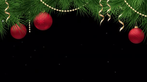 Christmas and New Year frame loop with red holiday ornaments on an alpha channel , motion graphics
