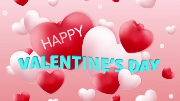 Happy Valentines Day with Hearts, Greeting Card, looped animation 4K, motion graphics