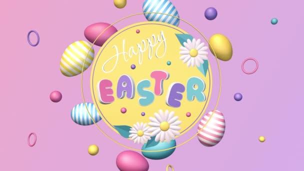 Frohe Ostern, 3D-Animation, Schleifenhintergrund mit Ostereiern, Bewegungsgrafik