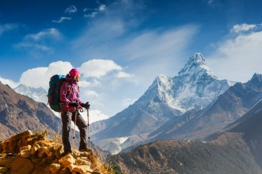Hiking in Himalaya mountains.