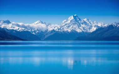Amazing Pukaki lake and Mountain Cook, New Zealand