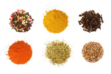 Colorful spices and herbs