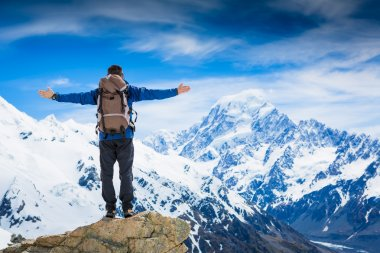 Hiker with backpack on mountain top