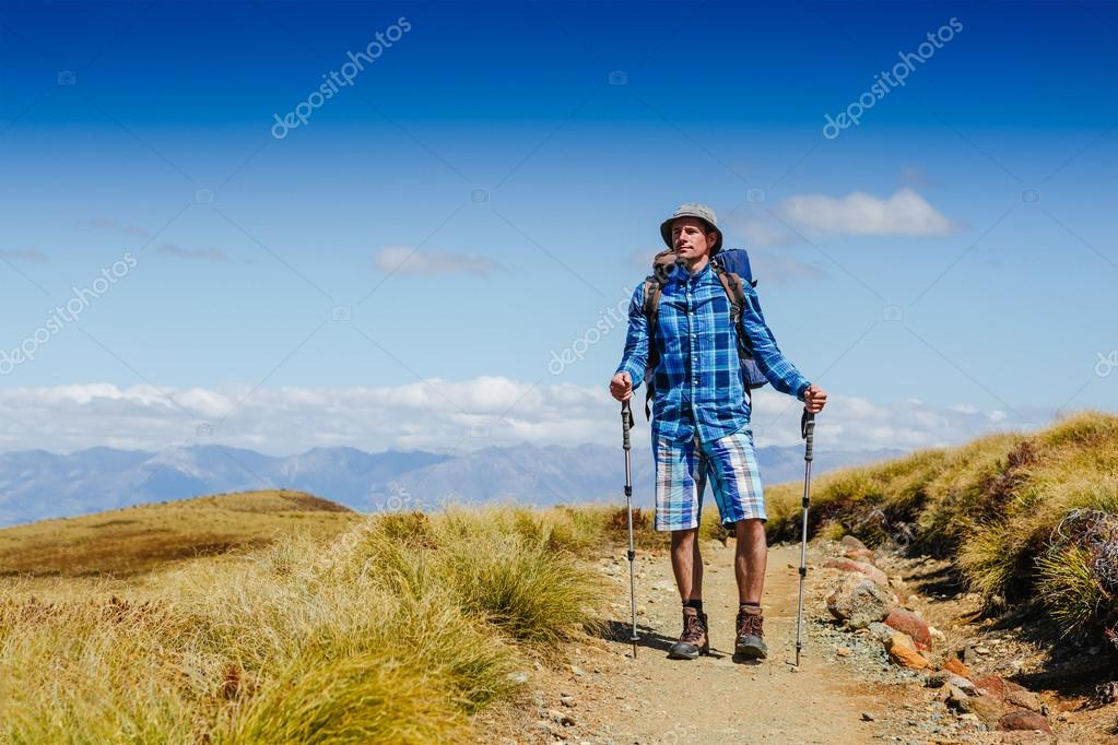 Young hiker looking at the horizon