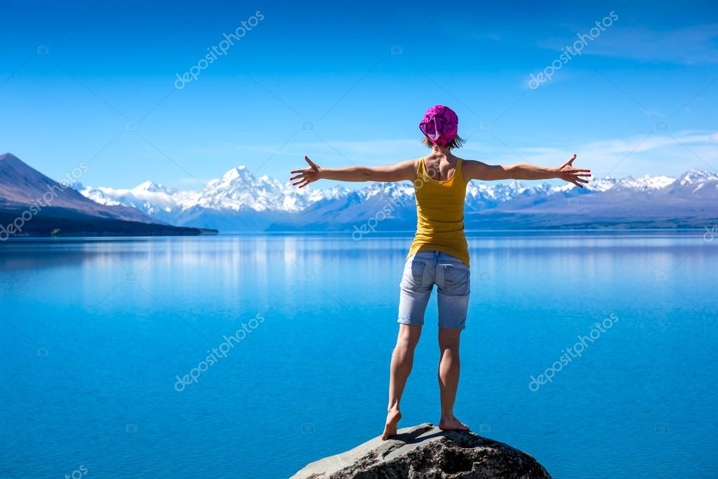 young female traveler  in New Zealand