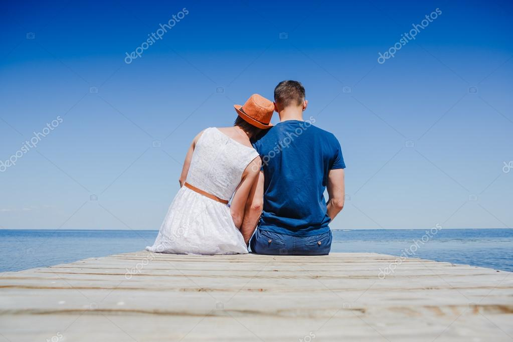 Young couple on the pear