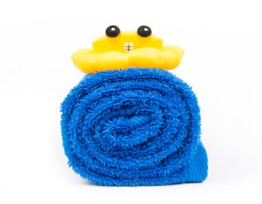 rolled blue towel