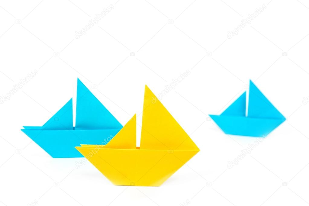 Origami Boats Isolated Stock Photo Olyphotostories 113383194