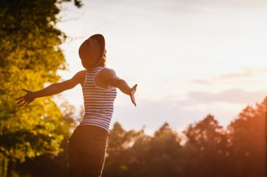 Happy Woman Enjoying Nature