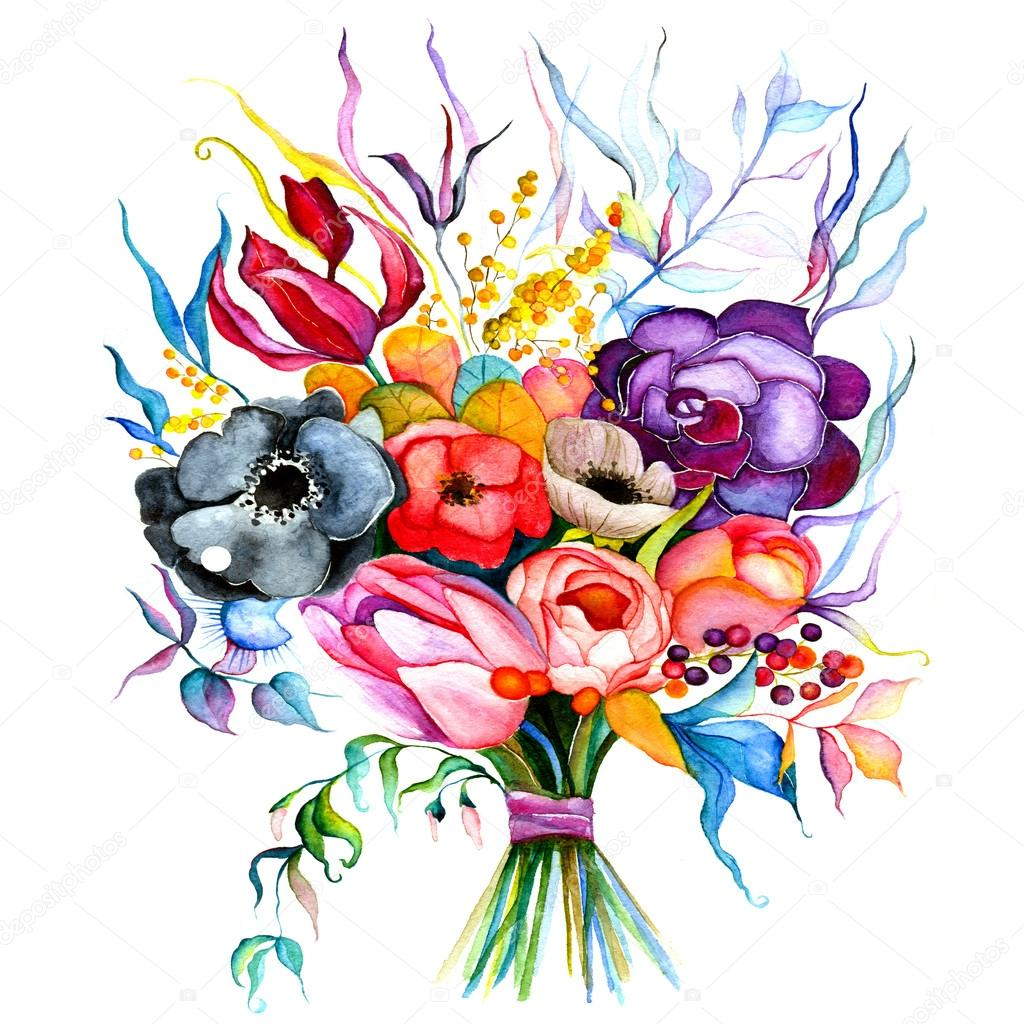 Summer flowers bouquet — Stock Photo © Juno-art #107369638