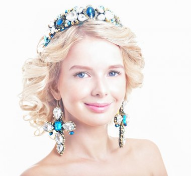 Beautiful blonde woman in luxurious tiara