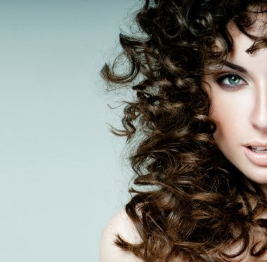 beautiful brunette with curly hair