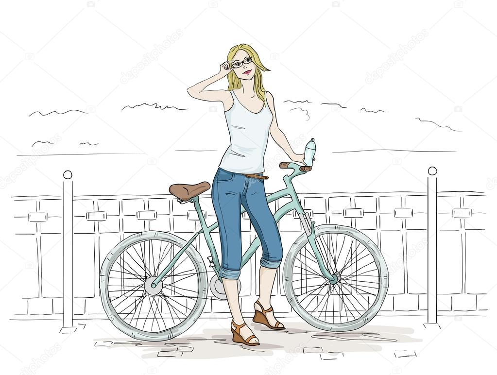De DibujarMujer Dibujo Con Para Joven Bicicletas Bonitas m08vwNn