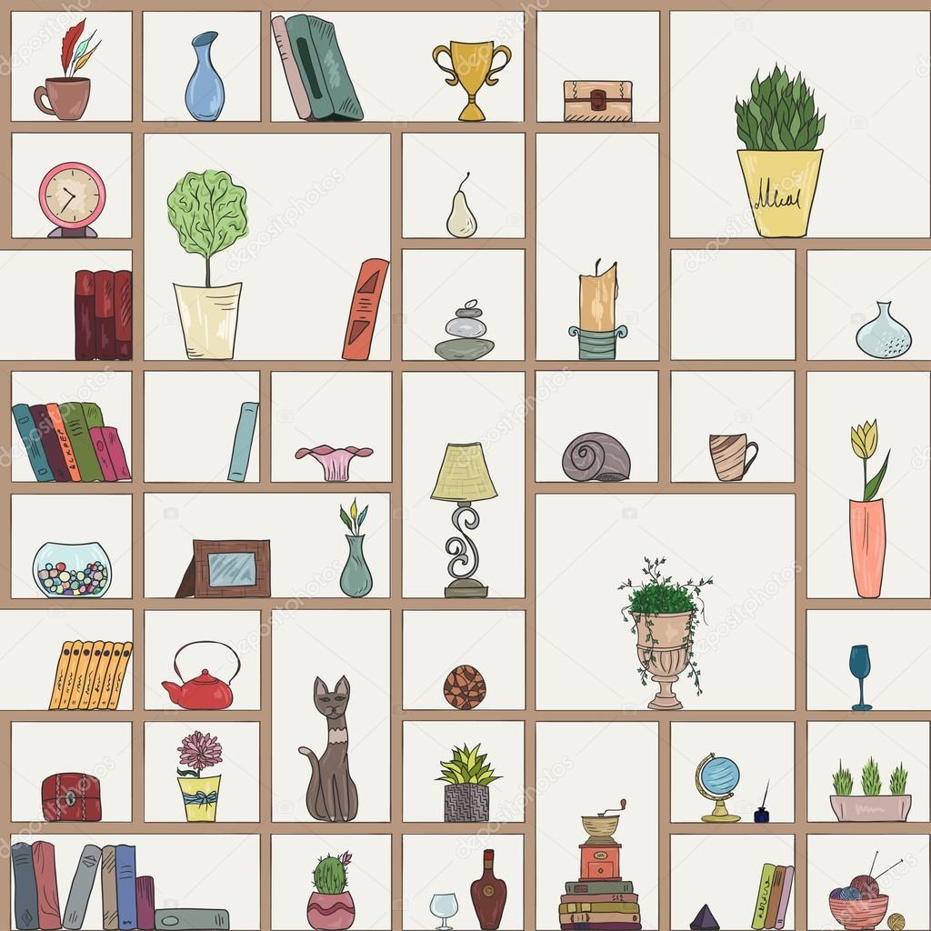 Bücherregal gezeichnet  Hand gezeichnet Buch Regale Musterdesign Hintergrund — Stockvektor ...