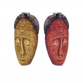 Fotografie Watercolor Wooden Tribal Masks