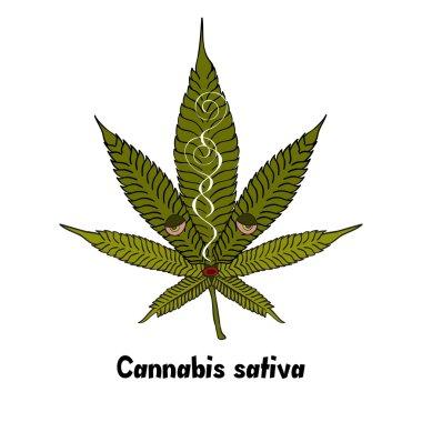 Smoking Cartoon Cannabis Leaf