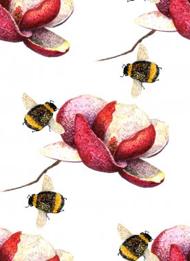 Magnolia and Bee pattern.