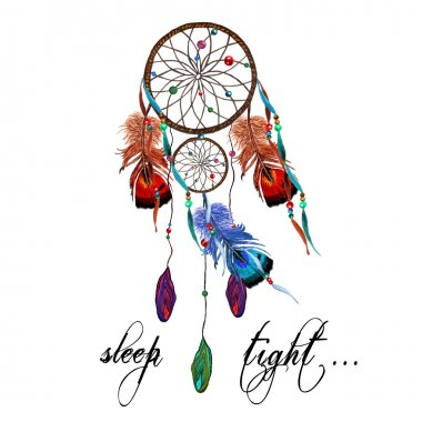 Watercolor Dreamcatcher, Feathers