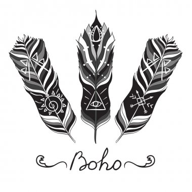 Ethnic Feathers, Hippie Vector Elements