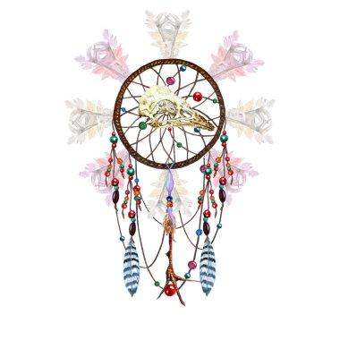 Watercolor Dreamcatcher, Bird Skull