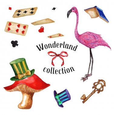 Watercolor Flamingo, Top Hats, Mushroom, Playing cards, Flying Book, Key & Bow, isolated on white background. Alice In Wonderland vintage collection. Vector Elements for your design. stock vector