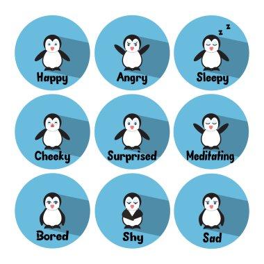 Set of penguins expressing emotions