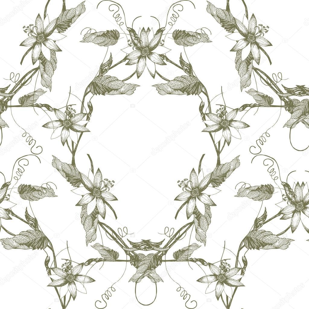 Passiflora Flowers Pattern Stock Vector C Kois00kois 107641398