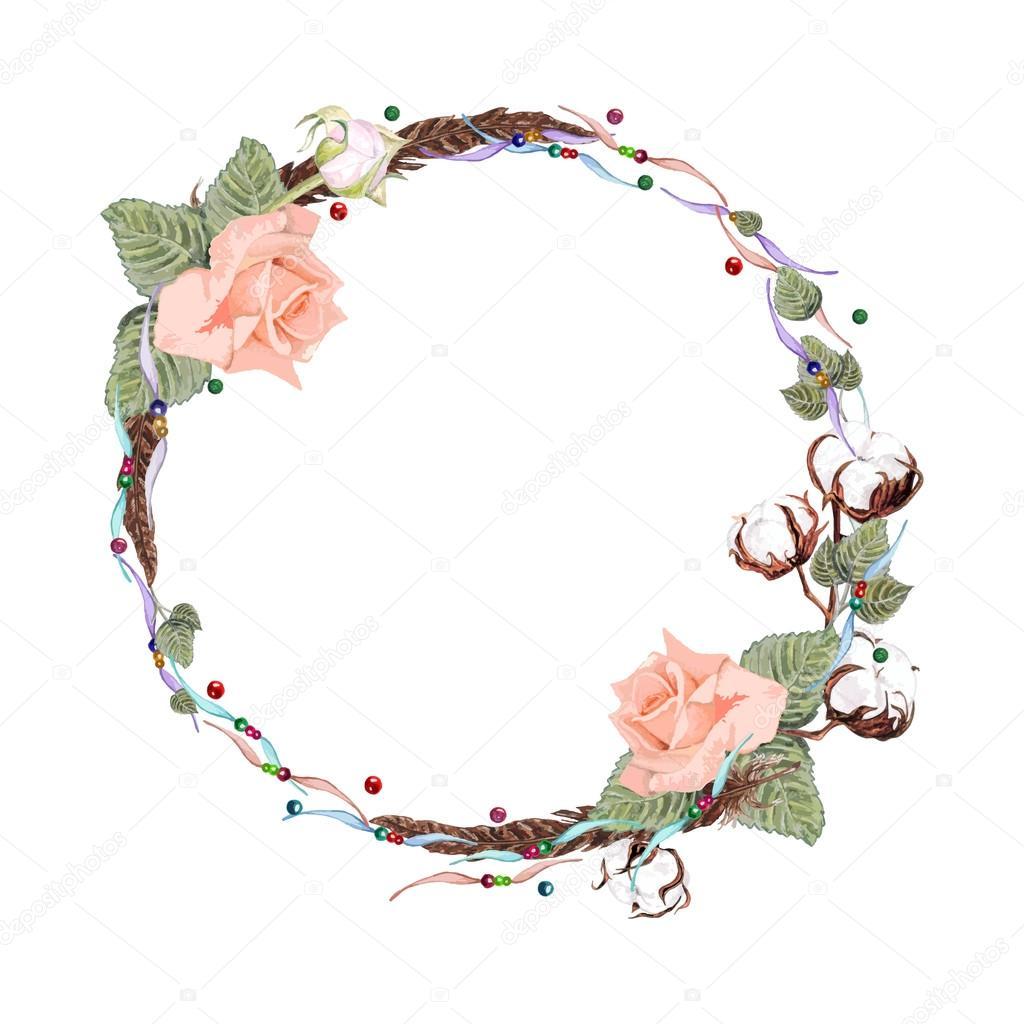rose and cotton wreath stock vector  u00a9 kois00kois 107641550 hydrangea clip art border free hydrangea clip art in mason jar