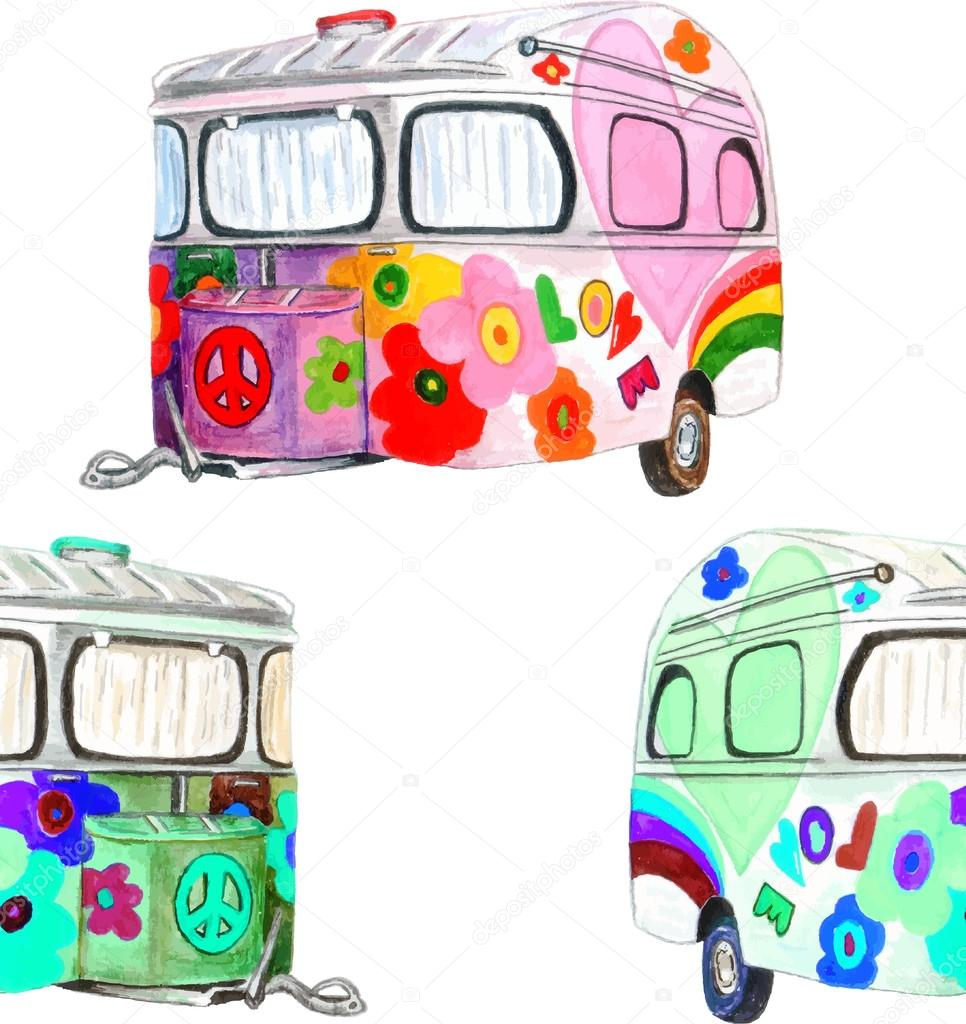 Watercolor Vintage Hippie Camper Trailers Seamless Pattern On White Background Texture Cloth Rug Design Red Green Pink Blue