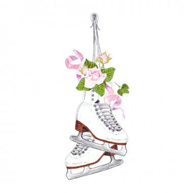 Ice Skates with Pink Roses