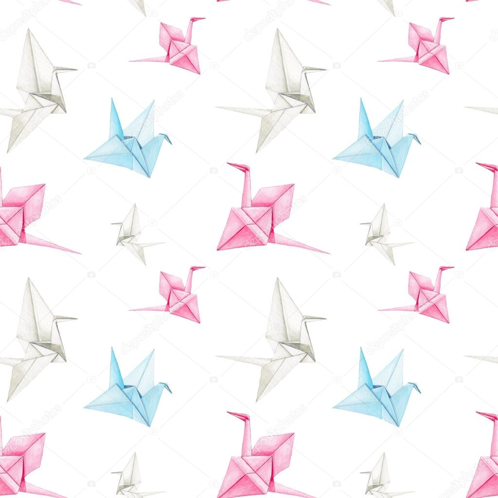 Watercolor Origami Crane Seamless Pattern On White Background Pastel Blue Rose Backdrop Cloth Rug Design Oriental Style