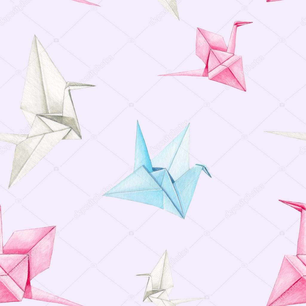 Origami Crane Pattern Stock Photo