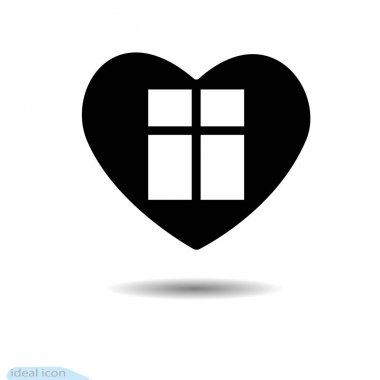 The heart icon. Design elements for Valentine s Day. Window. A symbol of love. Flat style for graphic and web design, logo. To watch. Shadow icon