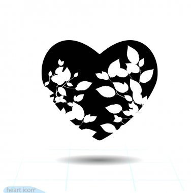 Bush heart icon . A symbol of love. Valentine day with the sign of the small tree. Flat style for graphic and web design, logo. Ui Vector illustration isolated. icon