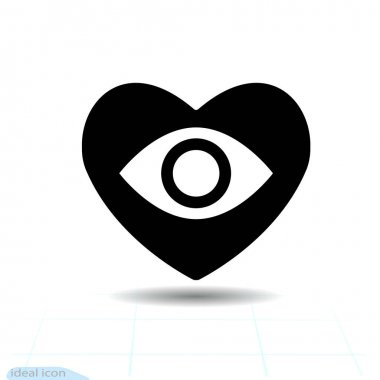 Heart vector black icon, Love symbol. Eye floats in heart. Valentines day sign, emblem, Flat style for graphic and web design, logo icon