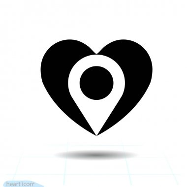 Heart vector black icon, Love symbol. Location in heart. Valentines day sign for congratulation and shadow on white background. Pin sign Navigation map, gps, place, compass For graphic design, logo. icon