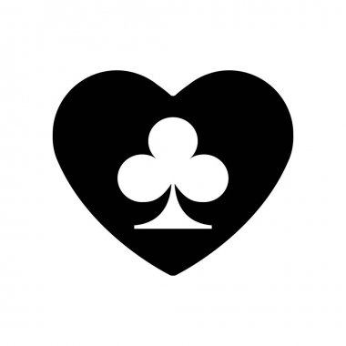 Black Heart, suit of clubs for playing cards icon. A symbol of love for Valentines day sign, flat style design, logo. Frame Adrenaline addiction, sharper, vector illustration. Eps 10. icon