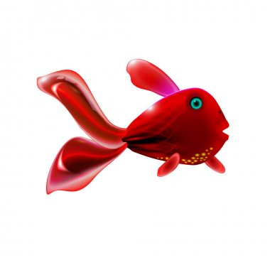 Red little glossy fish. Cartoon funny life illustration of sea animal symbol. Marine stock. Optimized from to be used in banner design, this illustration of a happy cartoon character. Vector Eps 10. icon
