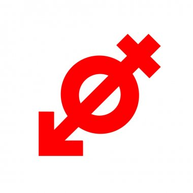 Anti gender, antisexuality symbol, red icon. Concept movement of fighters for genderless relationship on white background. Abstract Vector sign illustration. Eps 10. icon