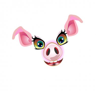 Cute pig face, muzzle vector illustration. For decorated and styling design in 2019 year. icon
