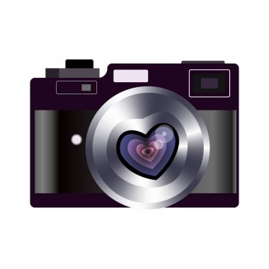 Retro camera valentines heart vector. Favorite lens in shape of heart icon with long love. Illustration for web design and mobile app. icon
