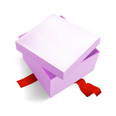 Pink Gift Box 3D, isometric realistic colorful with red Ribbon for Birthday Celebration, Christmas, Party, Holiday. Object isolated on white background. Vector Illustration Eps 10. icon