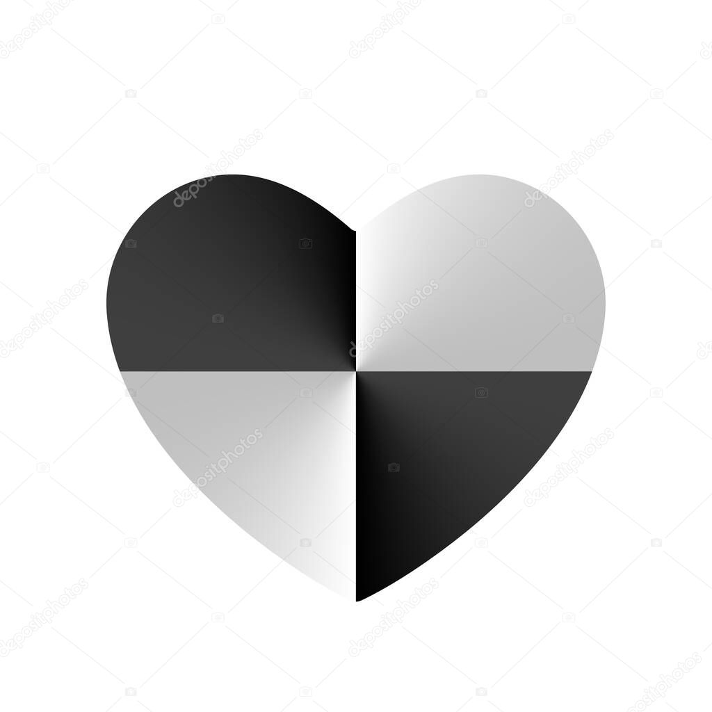 Monochrome Crash Test in Heart vector icon  Valentines day sign  symbol icon