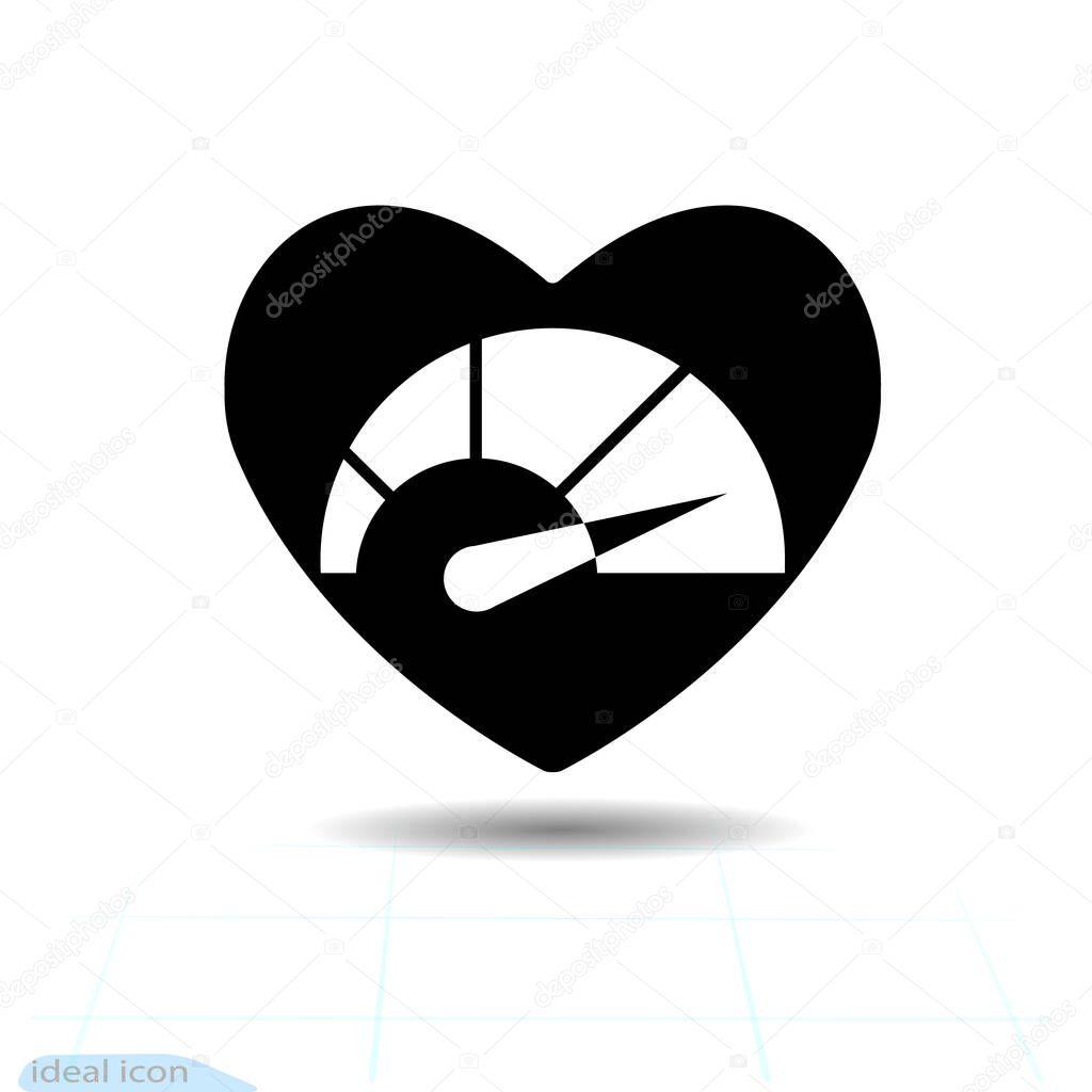 Heart vector black icon  Love symbol icon