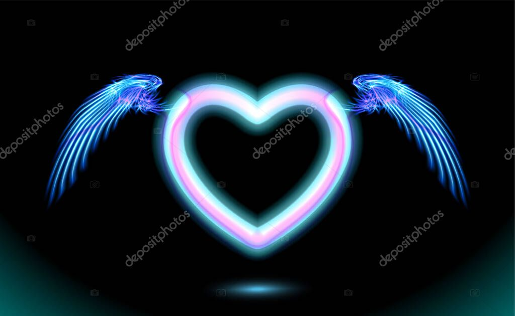 Heart anime neon with wings  blue glow radiant effect of love with space for Valentines day icon