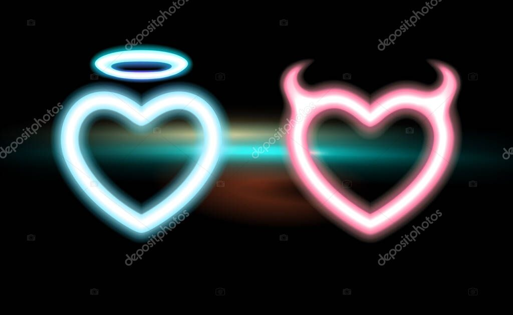Heart set neon blue  pink radiant horned Devil  glow halo Angel for Valentines day  Halloween icon