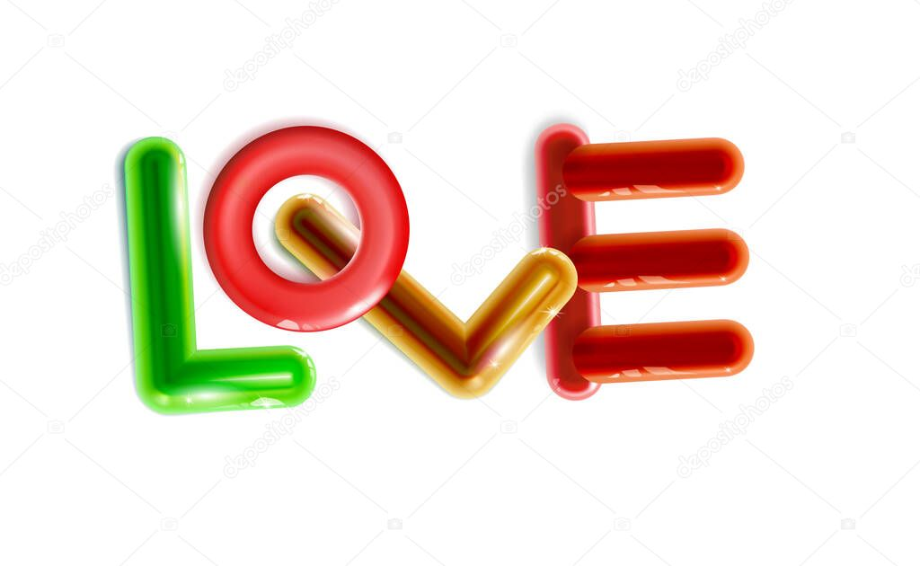 Abstract inscription Glossy love  multicolor plastic toys rounded icon