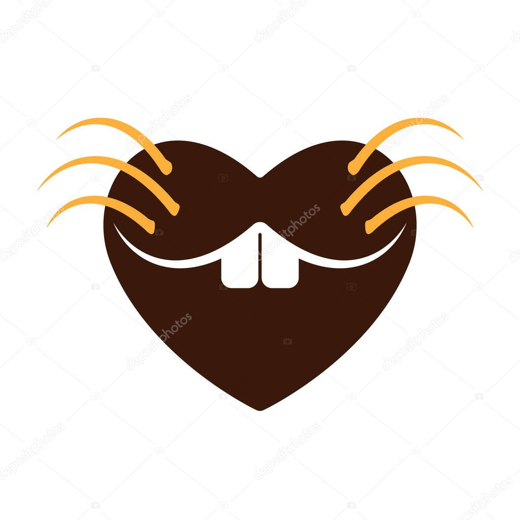 Heart on marmot day icon